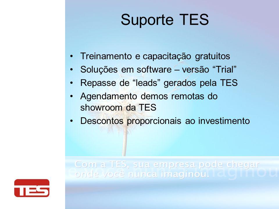 Suporte TES Treinamento e capacitação gratuitos Soluções em software – versão Trial Repasse de leads gerados pela TES Agendamento demos remotas do showroom da TES Descontos proporcionais ao investimento