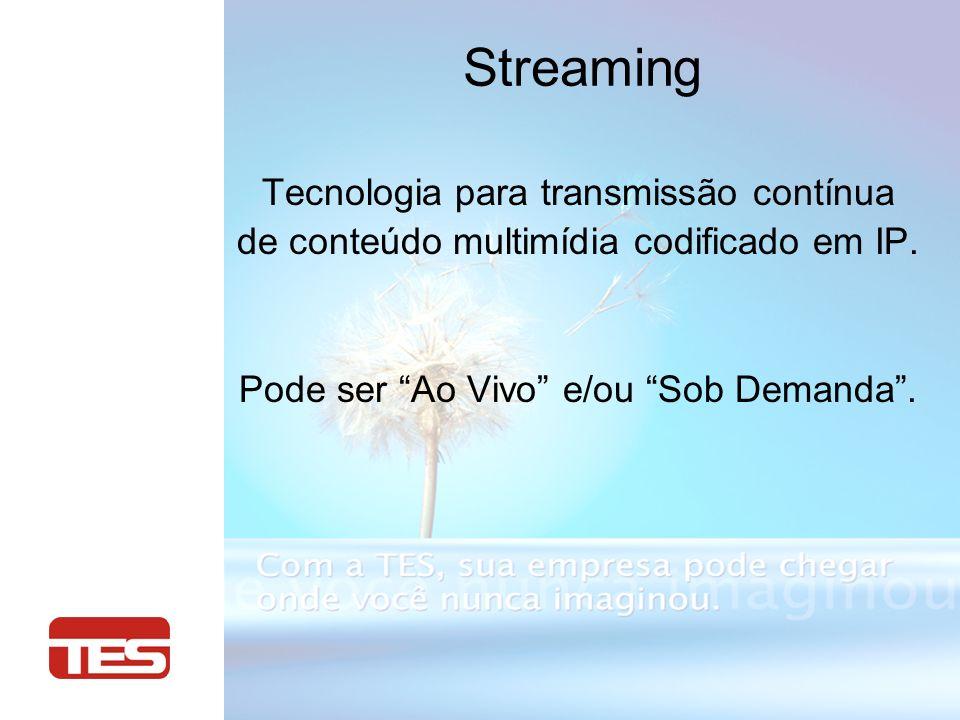 Streaming Tecnologia para transmissão contínua de conteúdo multimídia codificado em IP. Pode ser Ao Vivo e/ou Sob Demanda.