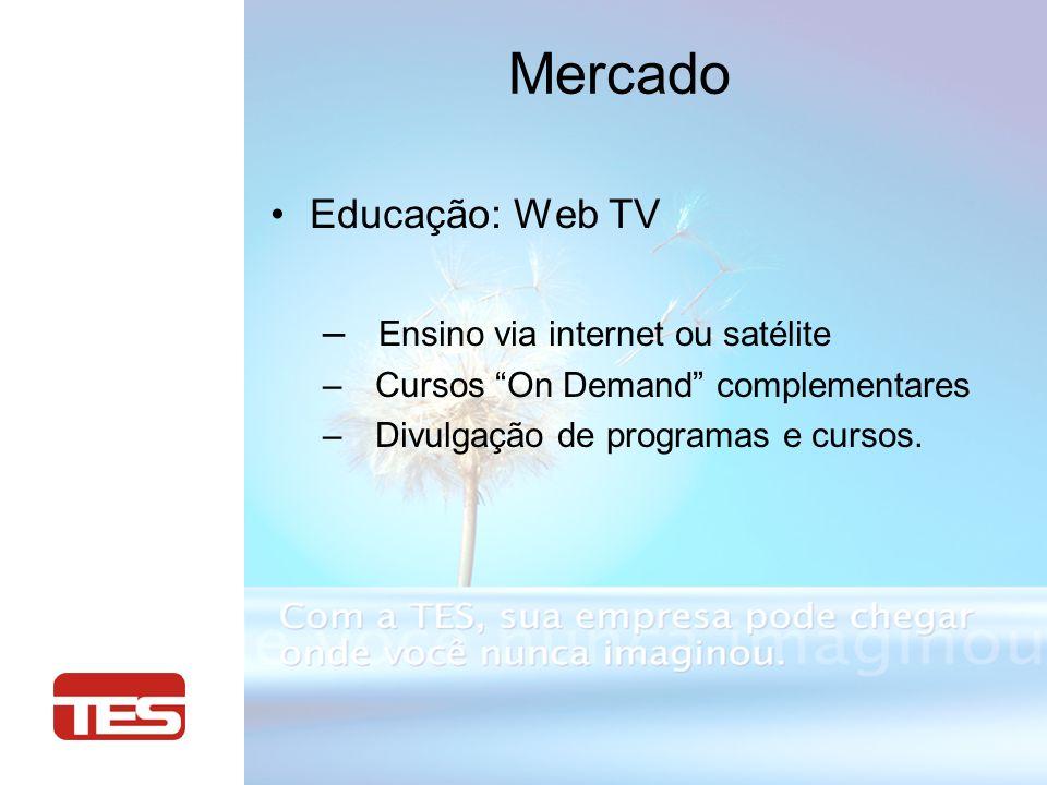 Educação: Web TV – Ensino via internet ou satélite – Cursos On Demand complementares – Divulgação de programas e cursos.