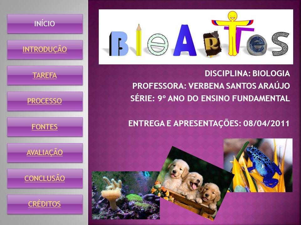 DISCIPLINA: BIOLOGIA PROFESSORA: VERBENA SANTOS ARAÚJO SÉRIE: 9º ANO DO ENSINO FUNDAMENTAL ENTREGA E APRESENTAÇÕES: 08/04/2011 INÍCIO INTRODUÇÃO TAREF