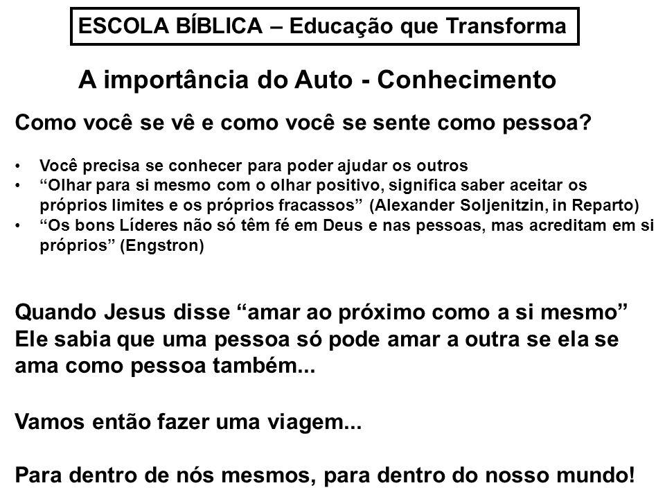 ESCOLA BÍBLICA – Educação que Transforma A importância do Auto - Conhecimento Quem sou eu.