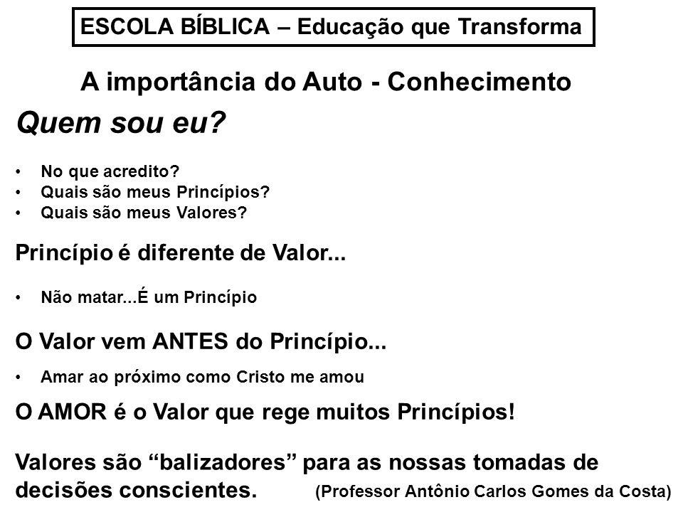 ESCOLA BÍBLICA – Educação que Transforma A importância do Auto - Conhecimento Quem sou eu? No que acredito? Quais são meus Princípios? Quais são meus
