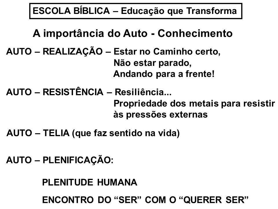 ESCOLA BÍBLICA – Educação que Transforma A importância do Auto - Conhecimento AUTO – REALIZAÇÃO – Estar no Caminho certo, Não estar parado, Andando pa