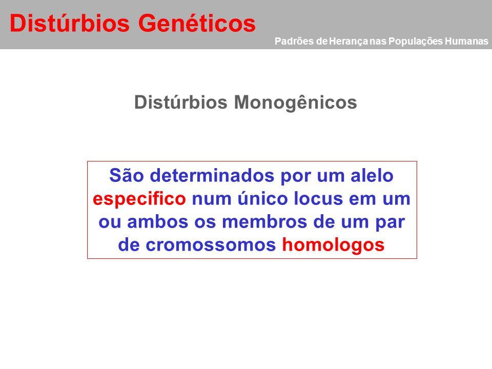 Padrões de Herança nas Populações Humanas Distúrbios Genéticos Classificação dos distúrbios genéticos Distúrbios Monogênicos Distúrbios Cromossômicos