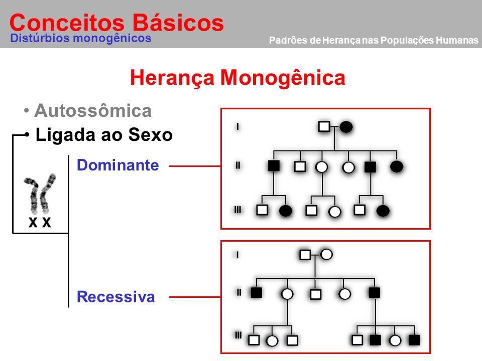 Padrões de Herança nas Populações Humanas Herança Monogênica Ligada ao Sexo Conceitos Básicos Distúrbios monogênicos Autossômica Dominante Recessiva 2