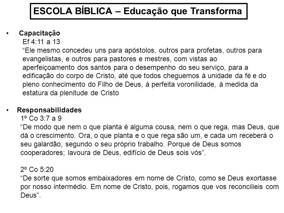 ESCOLA BÍBLICA – Educação que Transforma Capacitação Ef 4:11 a 13 Ele mesmo concedeu uns para apóstolos, outros para profetas, outros para evangelista