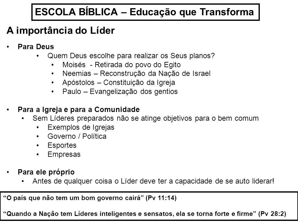 ESCOLA BÍBLICA – Educação que Transforma A importância do Líder Para Deus Quem Deus escolhe para realizar os Seus planos? Moisés - Retirada do povo do