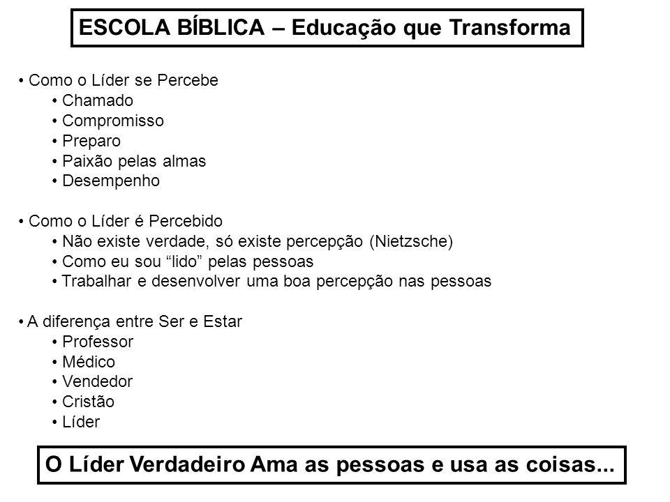 ESCOLA BÍBLICA – Educação que Transforma Como o Líder se Percebe Chamado Compromisso Preparo Paixão pelas almas Desempenho Como o Líder é Percebido Nã