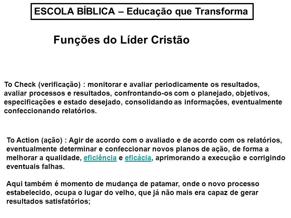 ESCOLA BÍBLICA – Educação que Transforma Funções do Líder Cristão To Action (ação) : Agir de acordo com o avaliado e de acordo com os relatórios, even