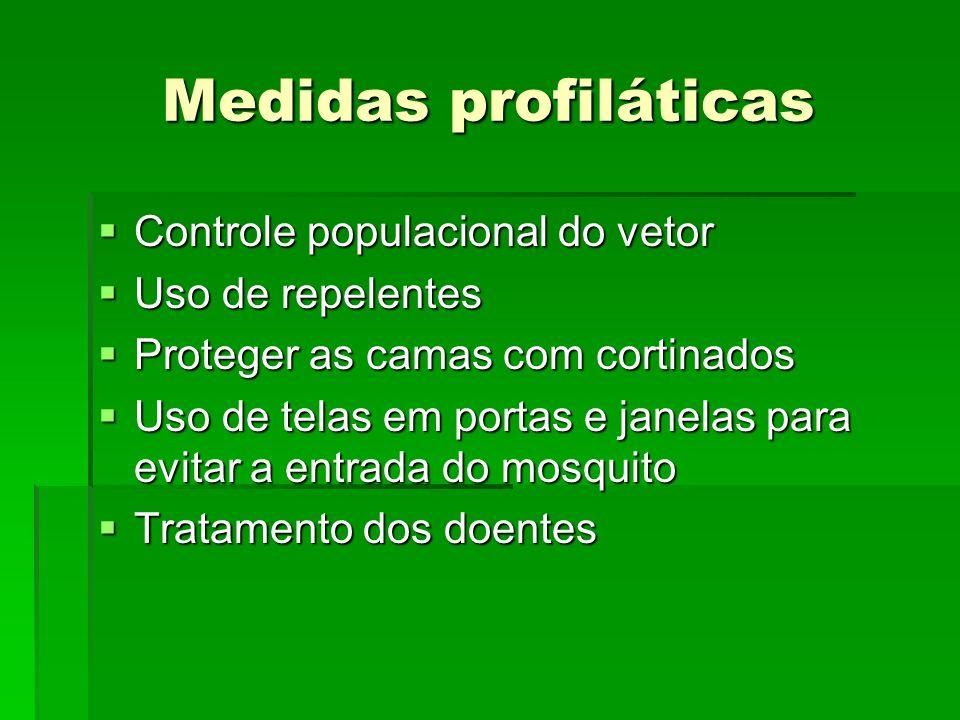 Medidas profiláticas Controle populacional do vetor Controle populacional do vetor Uso de repelentes Uso de repelentes Proteger as camas com cortinado