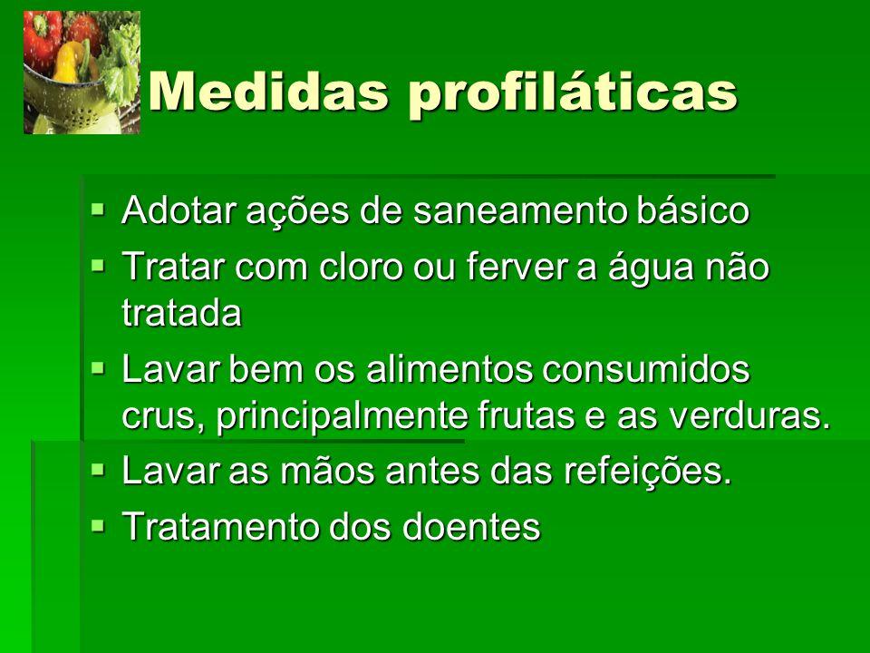 Medidas profiláticas Adotar ações de saneamento básico Adotar ações de saneamento básico Tratar com cloro ou ferver a água não tratada Tratar com clor