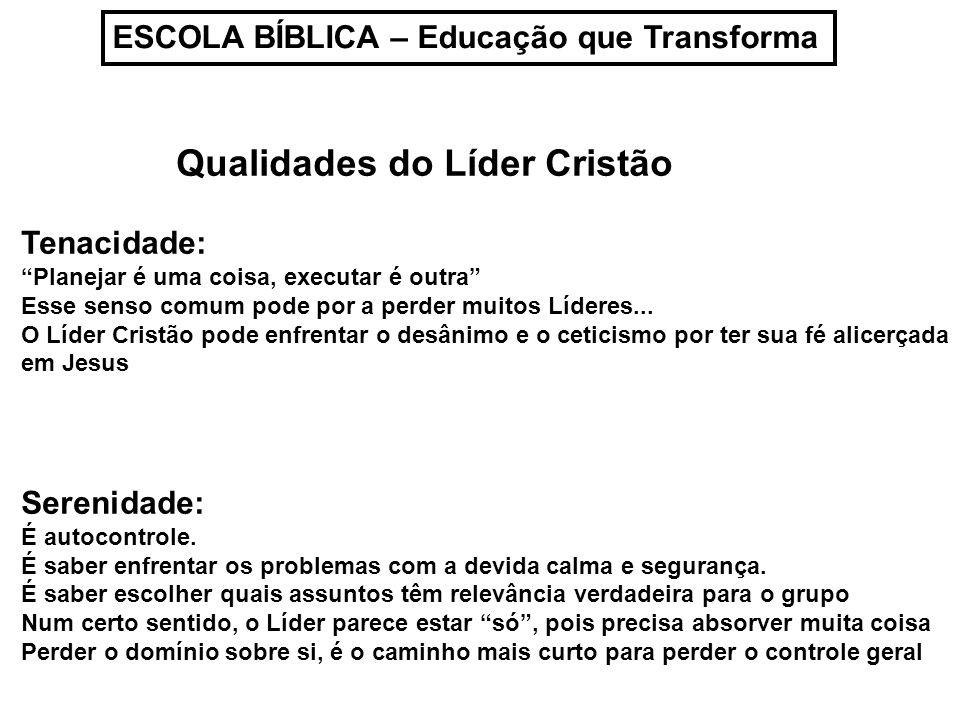 ESCOLA BÍBLICA – Educação que Transforma Qualidades do Líder Cristão Tenacidade: Planejar é uma coisa, executar é outra Esse senso comum pode por a pe