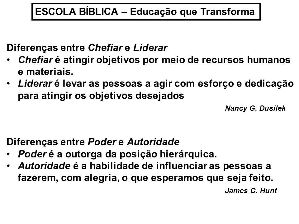 ESCOLA BÍBLICA – Educação que Transforma Diferenças entre Chefiar e Liderar Chefiar é atingir objetivos por meio de recursos humanos e materiais. Lide