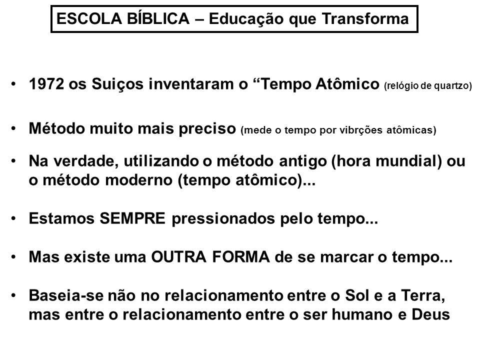 ESCOLA BÍBLICA – Educação que Transforma 1972 os Suiços inventaram o Tempo Atômico (relógio de quartzo) Método muito mais preciso (mede o tempo por vi