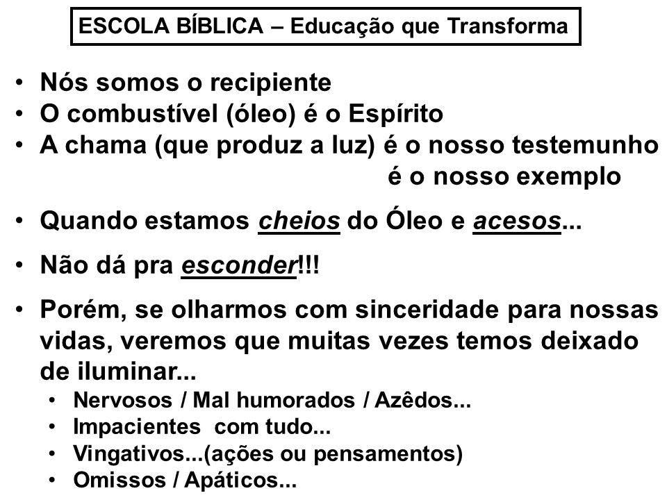 ESCOLA BÍBLICA – Educação que Transforma Por mais que isso nos incomode, muitas vezes não conseguimos mudar...