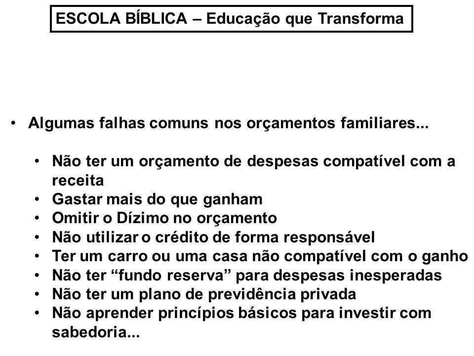 ESCOLA BÍBLICA – Educação que Transforma Algumas falhas comuns nos orçamentos familiares... Não ter um orçamento de despesas compatível com a receita