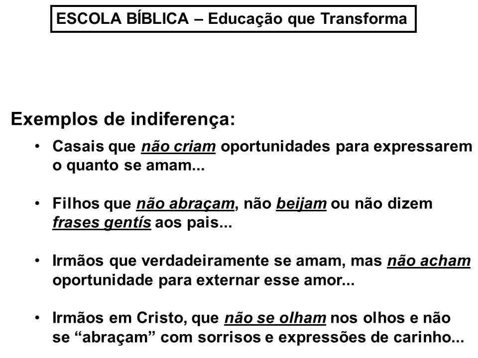 ESCOLA BÍBLICA – Educação que Transforma Exemplos de indiferença: Casais que não criam oportunidades para expressarem o quanto se amam... Filhos que n