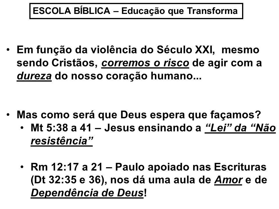 ESCOLA BÍBLICA – Educação que Transforma Em função da violência do Século XXI, mesmo sendo Cristãos, corremos o risco de agir com a dureza do nosso coração humano...