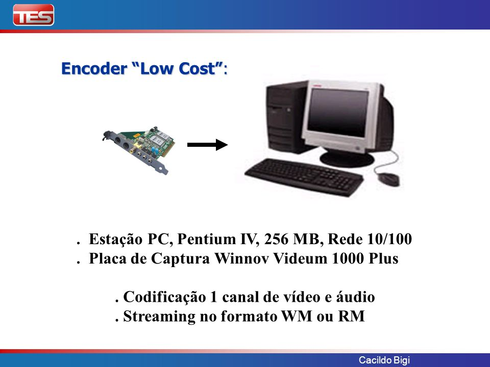 Cacildo Bigi. Estação PC, Pentium IV, 256 MB, Rede 10/100. Placa de Captura Winnov Videum 1000 Plus. Codificação 1 canal de vídeo e áudio. Streaming n