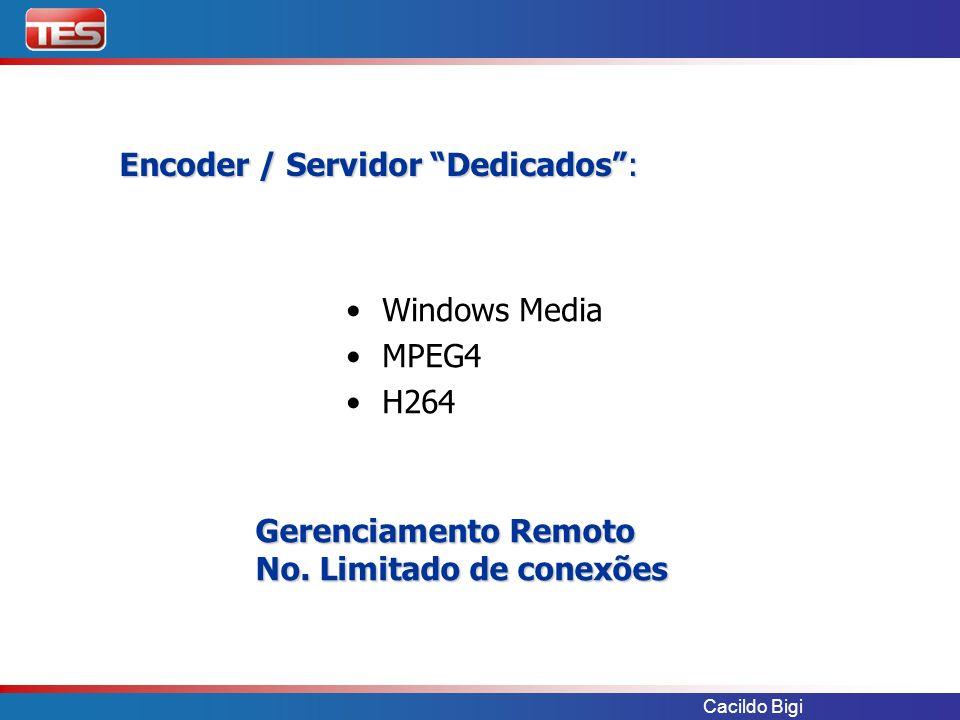 Cacildo Bigi Encoder / Servidor Dedicados: Windows Media MPEG4 H264 Gerenciamento Remoto No. Limitado de conexões