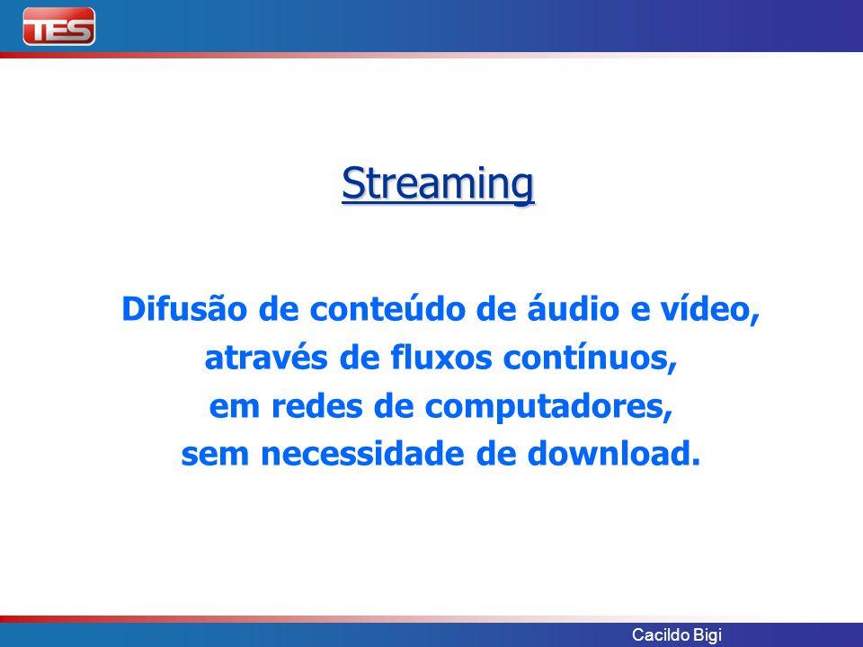 Cacildo Bigi Streaming Difusão de conteúdo de áudio e vídeo, através de fluxos contínuos, em redes de computadores, sem necessidade de download.