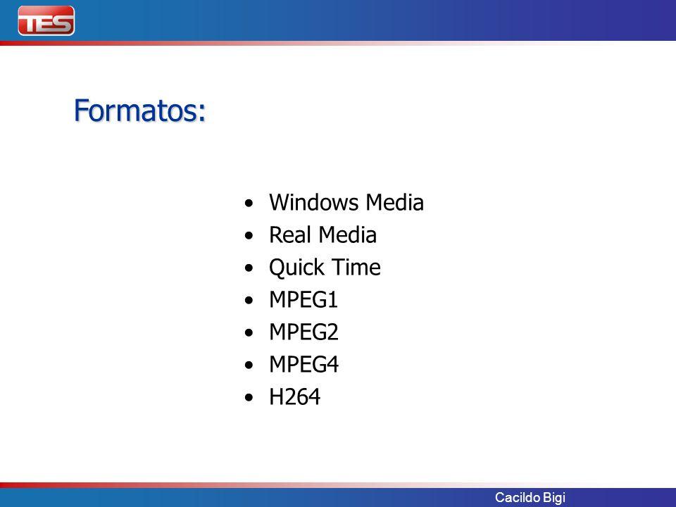 Cacildo Bigi Formatos: Windows Media Real Media Quick Time MPEG1 MPEG2 MPEG4 H264