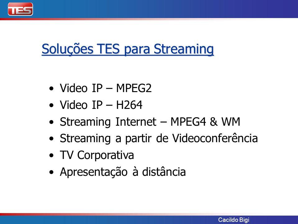 Cacildo Bigi Video IP – MPEG2 Video IP – H264 Streaming Internet – MPEG4 & WM Streaming a partir de Videoconferência TV Corporativa Apresentação à dis