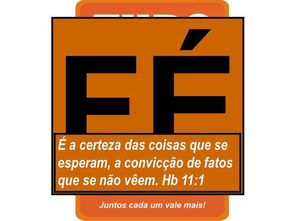 FÉ É a certeza das coisas que se esperam, a convicção de fatos que se não vêem. Hb 11:1