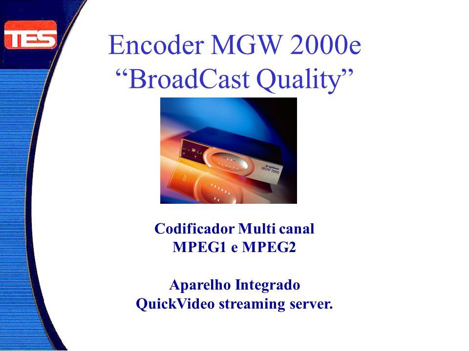 Encoder TV Broadcast MGW 2000e Pode receber até 6 sinais analógicos de vídeo ao vivo, codificá-los em MPEG-1 ou MPEG-2 em tempo real, e transmiti-los em redes IP e ATM.