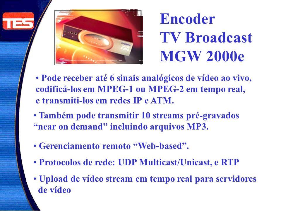 Encoder TV Broadcast MGW 2000e Pode receber até 6 sinais analógicos de vídeo ao vivo, codificá-los em MPEG-1 ou MPEG-2 em tempo real, e transmiti-los