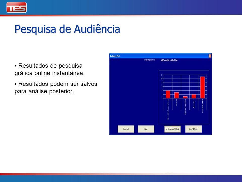 Resultados de pesquisa gráfica online instantânea. Resultados podem ser salvos para análise posterior. Pesquisa de Audiência