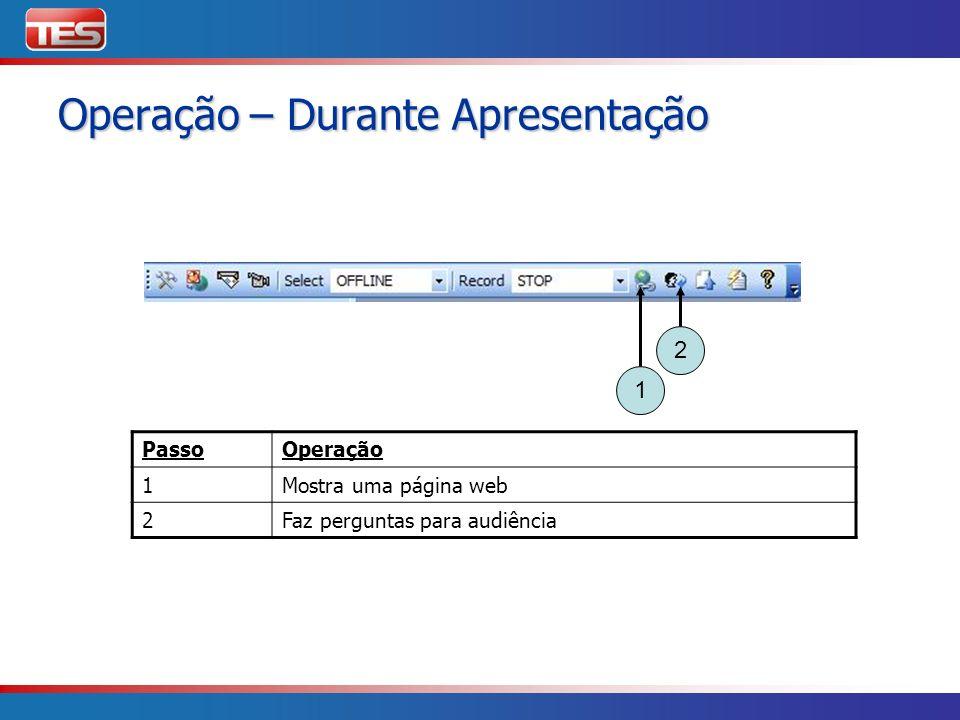 PassoOperação 1Mostra uma página web 2Faz perguntas para audiência 1 2 Operação – Durante Apresentação