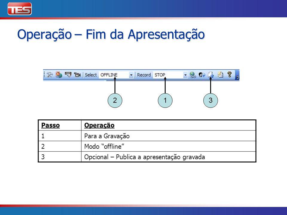 PassoOperação 1Para a Gravação 2Modo offline 3Opcional – Publica a apresentação gravada 213 Operação – Fim da Apresentação