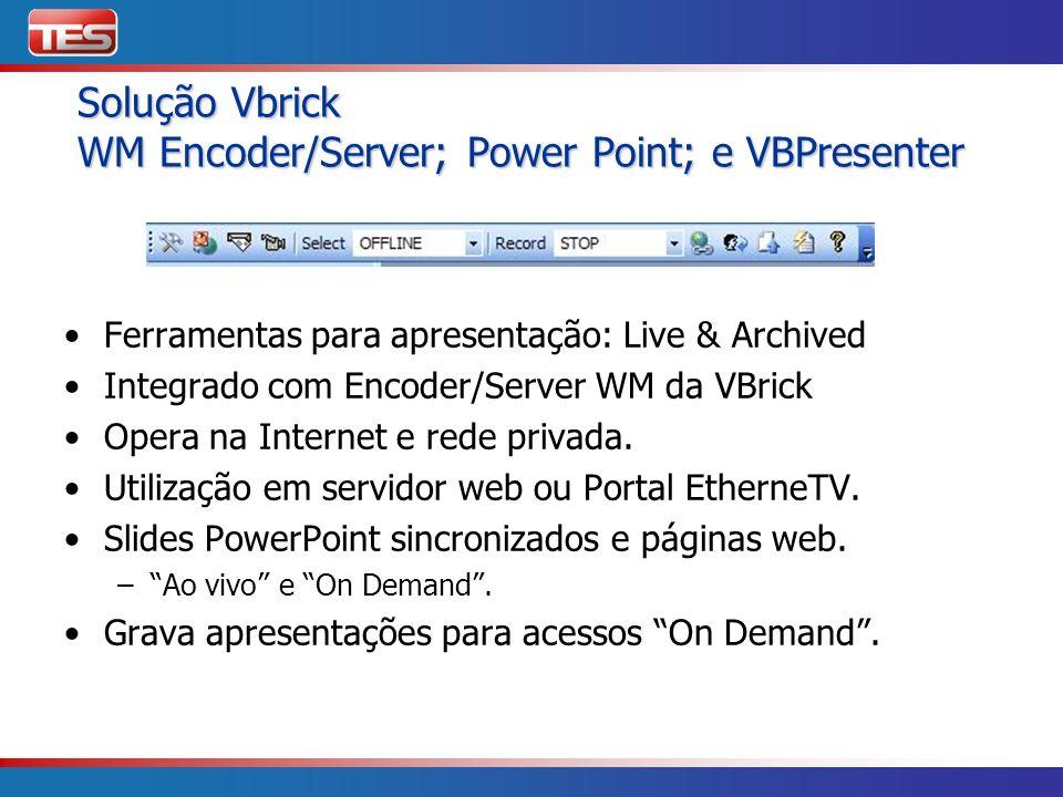 Solução Vbrick WM Encoder/Server; Power Point; e VBPresenter Solução Vbrick WM Encoder/Server; Power Point; e VBPresenter Ferramentas para apresentaçã