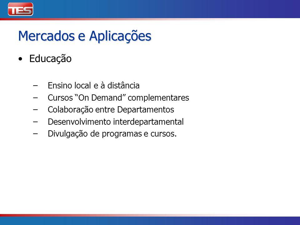 Mercados e Aplicações Educação – Ensino local e à distância – Cursos On Demand complementares – Colaboração entre Departamentos – Desenvolvimento inte