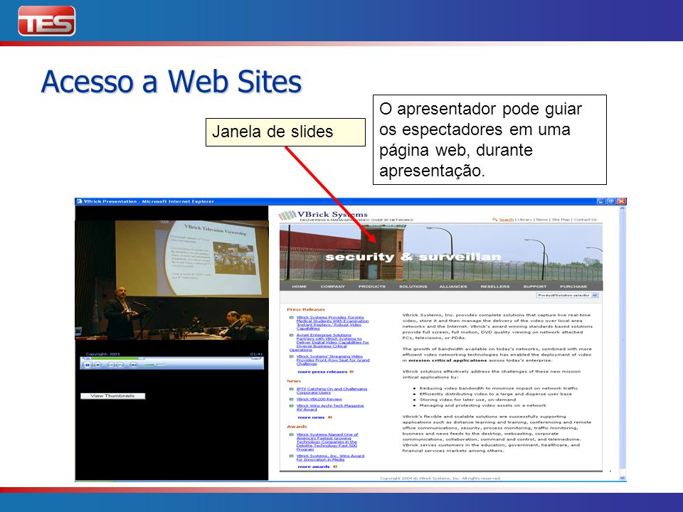 Janela de slides O apresentador pode guiar os espectadores em uma página web, durante apresentação. Acesso a Web Sites