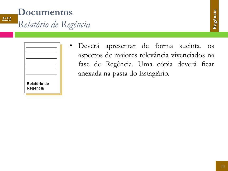Documentos Relatório de Regência 29 Relatório de Regência Deverá apresentar de forma sucinta, os aspectos de maiores relevância vivenciados na fase de Regência.
