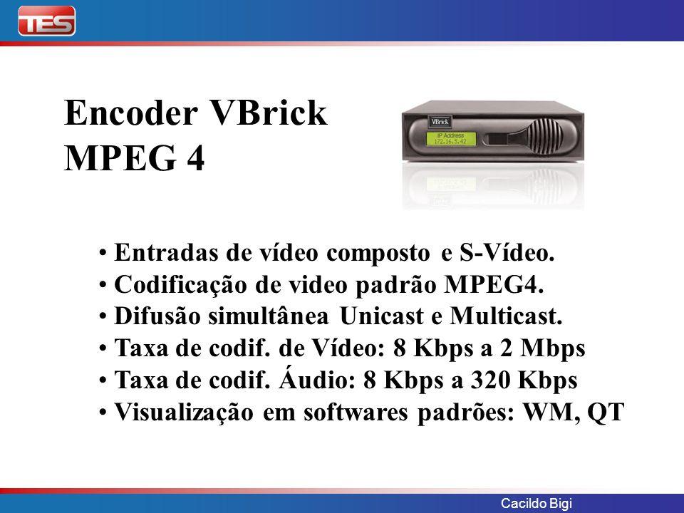 Cacildo Bigi Encoder VBrick MPEG 4 Entradas de vídeo composto e S-Vídeo. Codificação de video padrão MPEG4. Difusão simultânea Unicast e Multicast. Ta