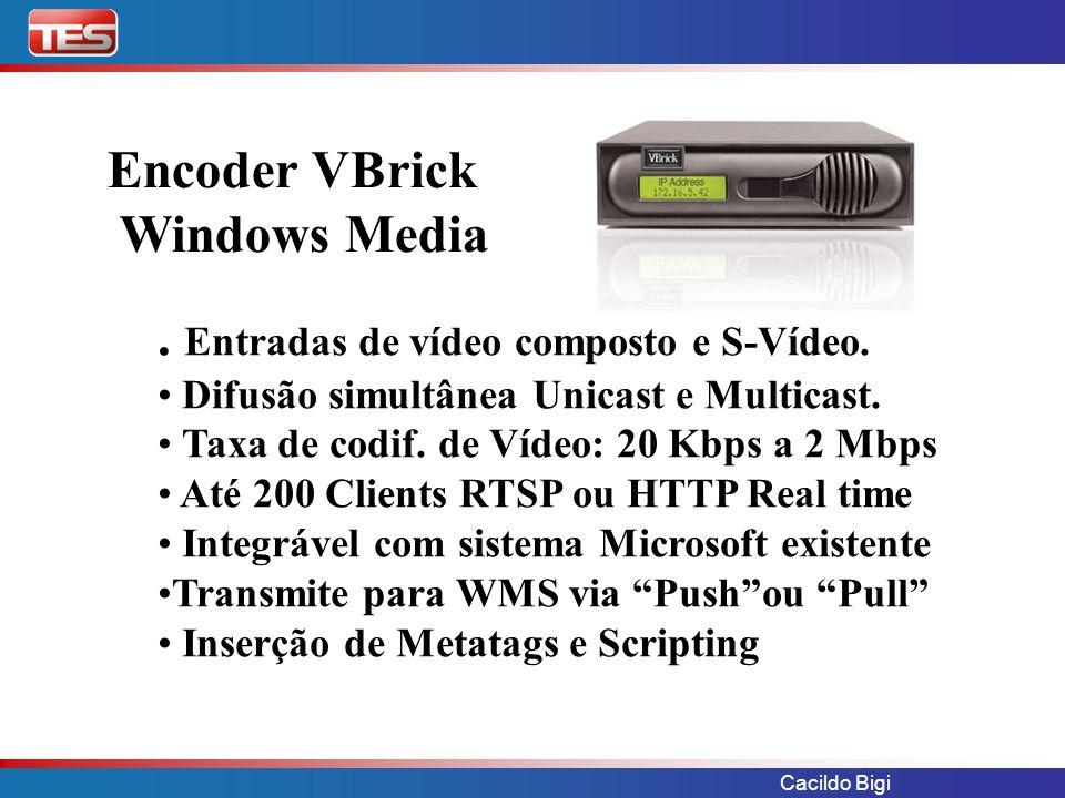 Cacildo Bigi Encoder VBrick Windows Media. Entradas de vídeo composto e S-Vídeo. Difusão simultânea Unicast e Multicast. Taxa de codif. de Vídeo: 20 K