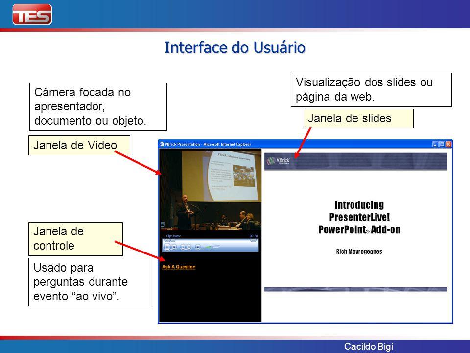 Cacildo Bigi Janela de Video Janela de controle Janela de slides Câmera focada no apresentador, documento ou objeto. Visualização dos slides ou página