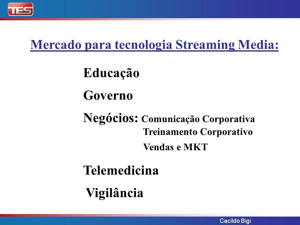Cacildo Bigi Haivision - hai200 TASMAN Features: H.264 / MPEG-4 Part 10 Resolução: Full, Frame Rate: 30 fps Bandwidth: 128 kbps a 2.0 Mbps Qualidade DVD em Bandas de 700 kbps Caixa Encoder ou Encoder/Decoder Codificação Low delay Unicast/Multicast Integrável com STB Benefícios: Melhor relação C/B que aparelhos high delay para broadcast.