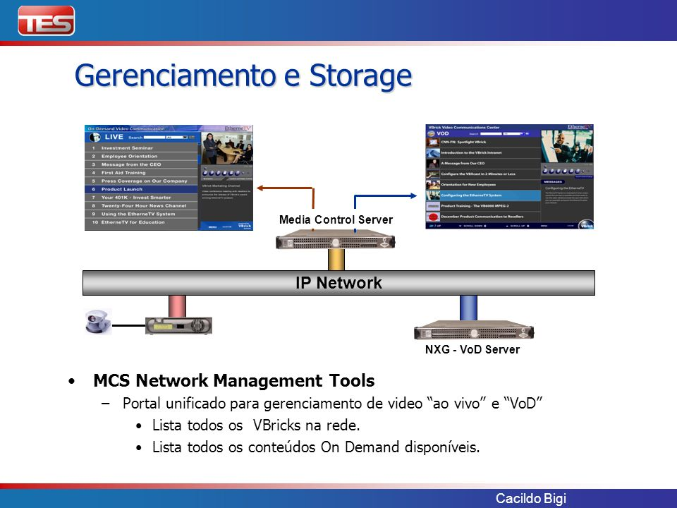 Cacildo Bigi MCS Network Management Tools – –Portal unificado para gerenciamento de video ao vivo e VoD Lista todos os VBricks na rede. Lista todos os
