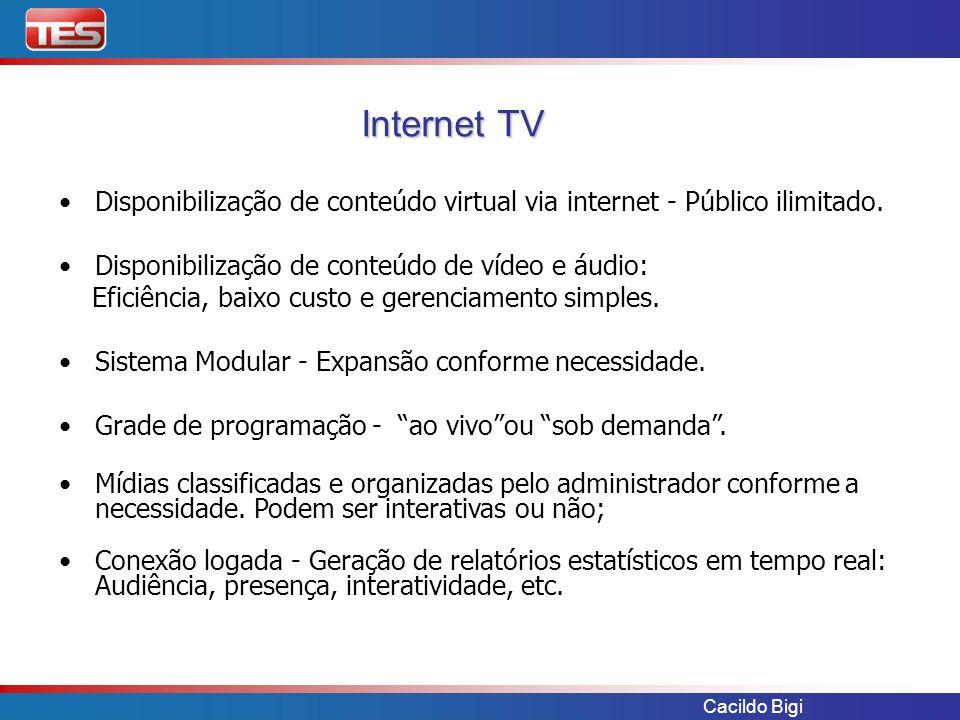 Cacildo Bigi Disponibilização de conteúdo virtual via internet - Público ilimitado. Disponibilização de conteúdo de vídeo e áudio: Eficiência, baixo c