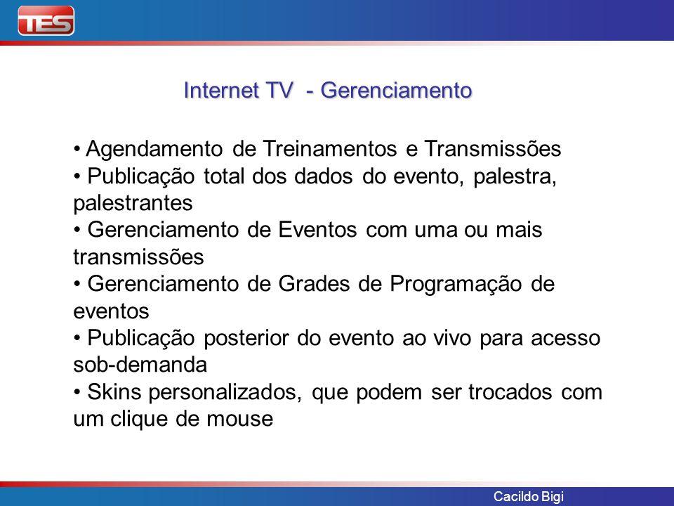 Cacildo Bigi Internet TV - Gerenciamento Agendamento de Treinamentos e Transmissões Publicação total dos dados do evento, palestra, palestrantes Geren