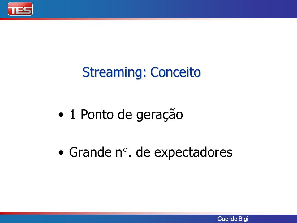 Cacildo Bigi Video IP – MPEG2 Video IP – H264 Streaming Internet – MPEG4 & WM Streaming a partir de Videoconferência TV Corporativa Apresentação à distância Soluções TES para Streaming