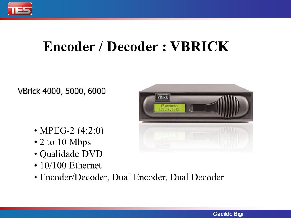 Cacildo Bigi VBrick – EtherneTV EtherneTV - NXG Video-On-Demand Server EtherneTV - NXG Video-On-Demand Server EtherneTV - MCS Media Control Server EtherneTV - MCS Media Control Server Gerenciamento e armazenamento EtherneTV-Set Top Box Display StreamPlayer Software Decoder StreamPlayer Software Decoder VBrick MPEG2, 4 & WM Encoders & Decoders VBrick MPEG2, 4 & WM Encoders & Decoders Captura e Disponibilização VBrick MPEG2, 4 & WM Encoders & Decoders VBrick MPEG2, 4 & WM Encoders & Decoders