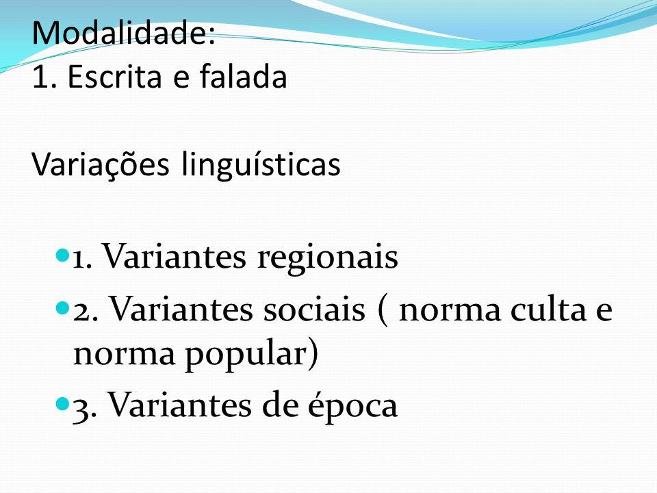 Modalidade escrita e modalidade falada FALA - não há tanta preocupação com a norma padrão; - uso de gestos, expressão corporal e facial.