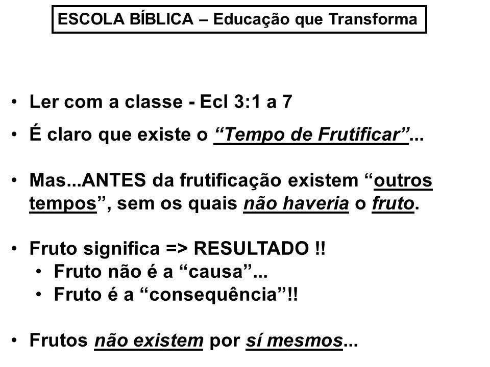 ESCOLA BÍBLICA – Educação que Transforma Ler com a classe - Ecl 3:1 a 7 É claro que existe o Tempo de Frutificar...