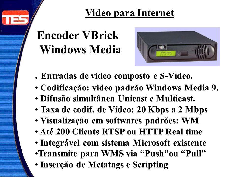 Encoder VBrick Windows Media. Entradas de vídeo composto e S-Vídeo. Codificação: video padrão Windows Media 9. Difusão simultânea Unicast e Multicast.