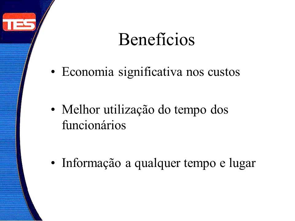 Benefícios Economia significativa nos custos Melhor utilização do tempo dos funcionários Informação a qualquer tempo e lugar